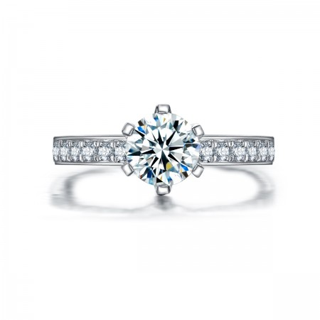 Europe Popular 925 Sterling Silver Set With Round Zirconia Engagement Ring