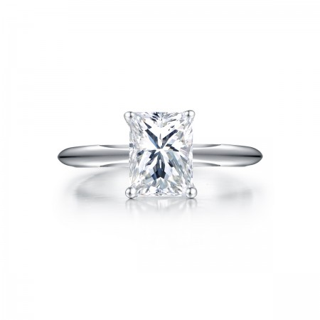 Simple Atmospheric 925 Sterling Silver Four Claw Square Engagement Ring