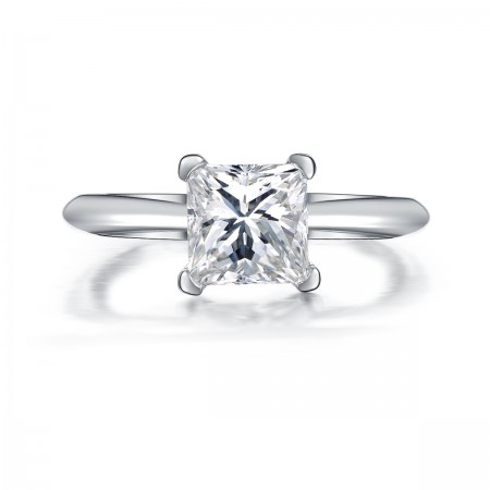 Simple Love 925 Sterling Silver Inlaid 1Ct Zirconia Engagement Ring
