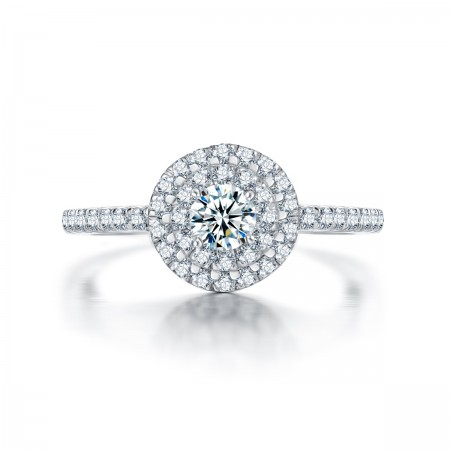Luxury Group Inlaid 925 Sterling Silver Round Simulation Diamond Engagement Ring