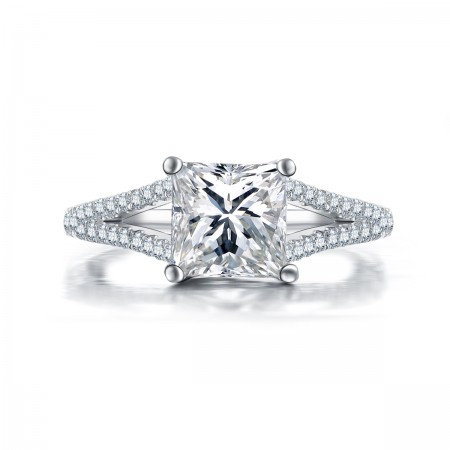 Luxury Princess Square Cut Engagement Ring In Sterling Silver