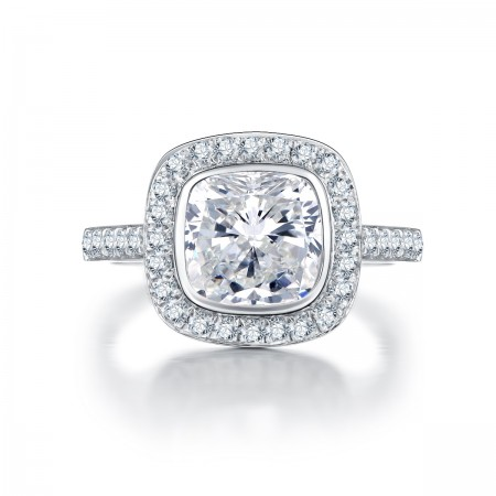 Retro Luxury 925 Sterling Silver Inlaid Cz Engagement Ring