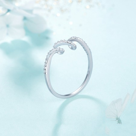 Exquisite Slim Wave Shape 925 Sterling Silver Inlaid CZ Engagement Ring