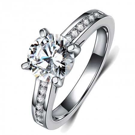 Classic Four Claw 925 Silver Inlay 1.25Ct Simulation Diamond Engagement Ring