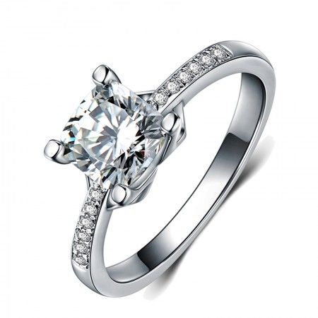 Personality 925 Sterling Silver Plated Platinum Inlaid 1Ct Cz Engagement Ring