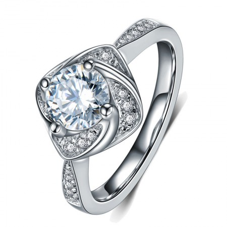 Europe Luxury Fashion 925 Sterling Silver Plated 18K White Gold Wedding Ring