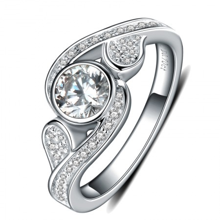 New Fashion Personality 925 Sterling Silver Inlaid Cz Engagement Ring