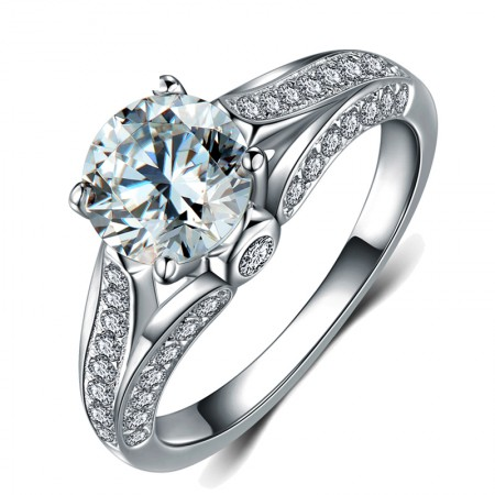 New Fashion 925 Silver Luxury Group Inlaid Engagement Ring