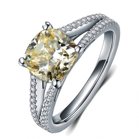 Boutique Luxury 925 Sterling Silver Plated White Gold Inlaid Cz Engagement Ring