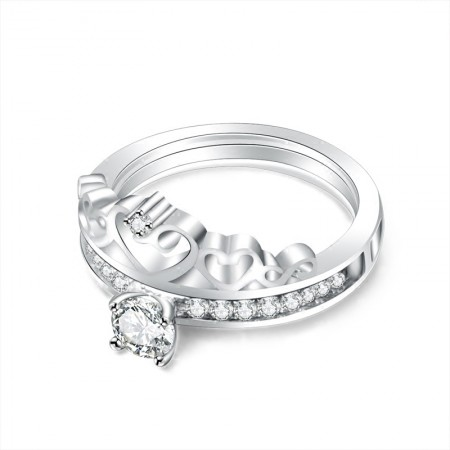 Original Beautiful Crowne 925 Sterling Silver Inlaid Cz Wedding Ring