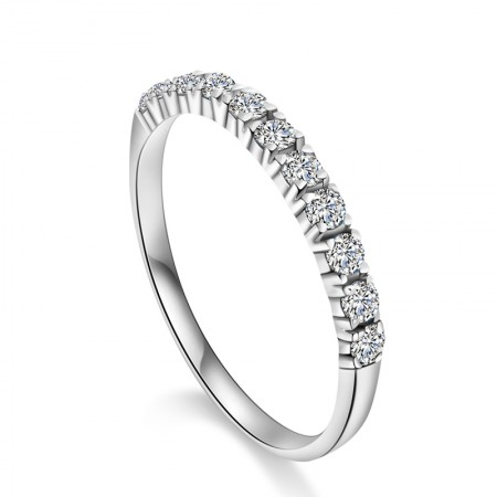 Simple For Life 925 Sterling Silver Full Cubic Zirconia Engagement Ring
