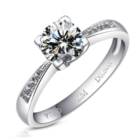 925 Sterling Silver Plated 18K White Gold With 1Ct Cz Engagement Ring