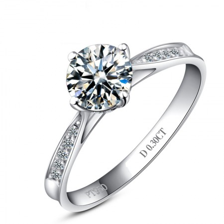 Classic Round Cut 925 Sterling Silver Plated 18K White Gold Engagement Ring