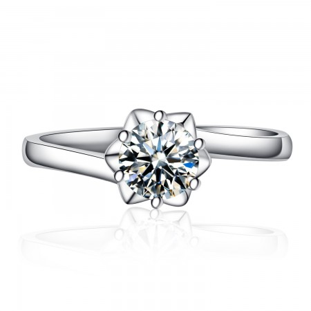 New Snowflake-Shaped 925 Sterling Silver Inlaid Cz Engagement Ring