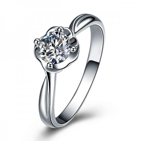 Creative Flower Shape S925 Silver Engagement Ring
