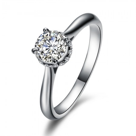 Simple And Elegant S925 Silver Inlaid 1Ct Cubic Zirconia Engagement Ring