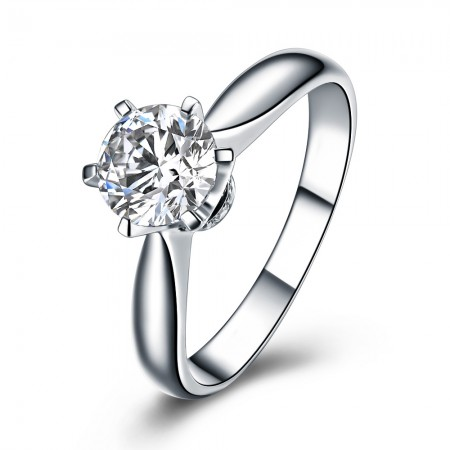 Classic Round Cut Six Claw S925 Silver Inlaid Cz Engagement Ring