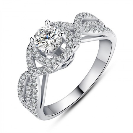 New Weave Modeling Luxury Inlaid Cubic Zirconia Engagement Ring