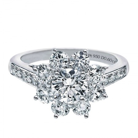 New Sunflower Shape Silver Plated Platinum Engagement Ring