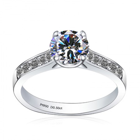 Classic 925 Sterling Silver Plated 18K White Gold Engagement Ring