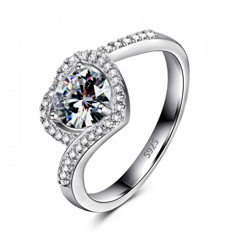 Romantic Heart-Shaped 925 Sterling Silver Set With Round Cz Engagement Ring