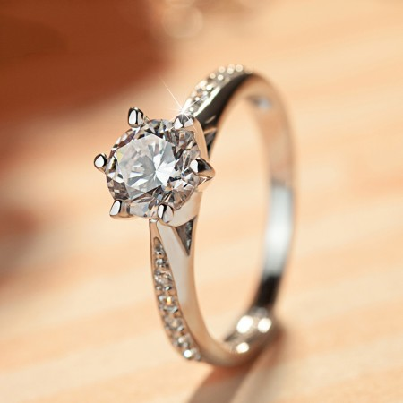 Luxury Shining Cubic Zirconia S925 Sterling Silver Engagement Opening Ring