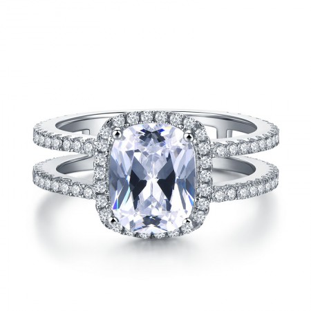 S925 Silver Inlaid Square Cz With Double Ring Full Of Diamond Engagement Ring