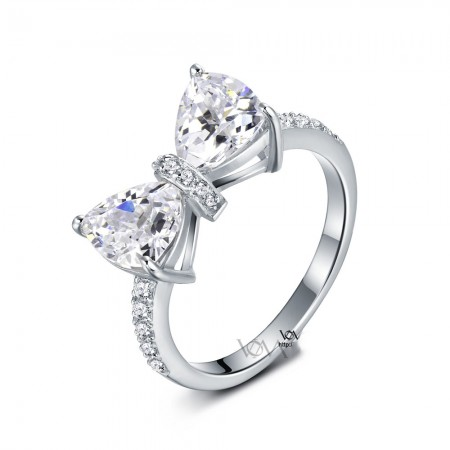 Korean Cute Bow Shape S925 Sterling Silver Engagement Ring