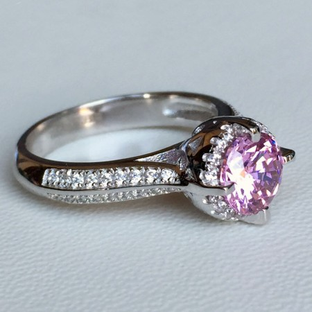 S925 Silver Inlaid 1Ct Pink Cubic Zirconia Engagement Ring