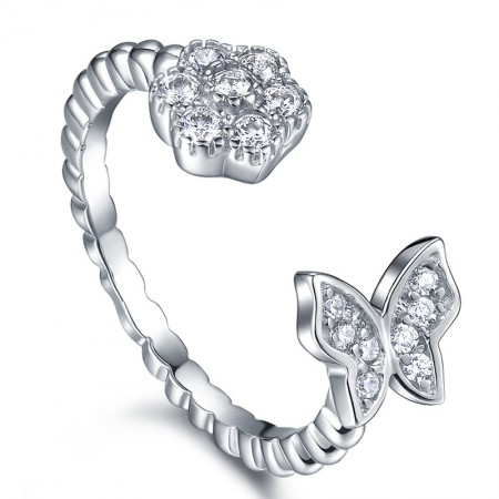 Cute Butterfly Flower Shape S925 Silver Opening Engagement Ring