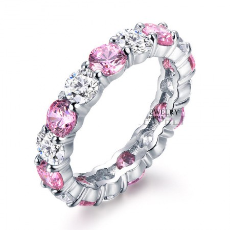 Korean Fashion S925 Sterling Silver With White And Pink Cz Engagement Ring