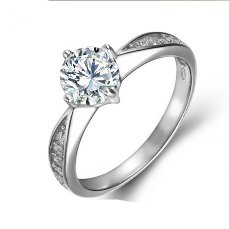 Contracted Classic Round Cut S925 Silver Engagement Ring