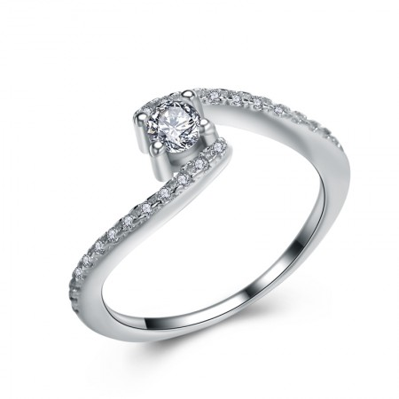 Unique Design 925 Sterling Silver Inlaid Shining Cz Engagement Ring