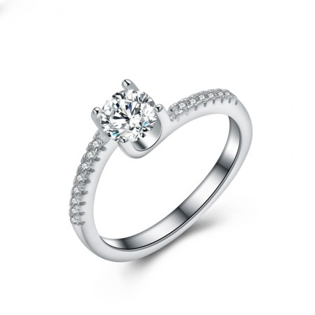 Character Design 925 Sterling Silver Inlaid Round Cut Cz Engagement Ring