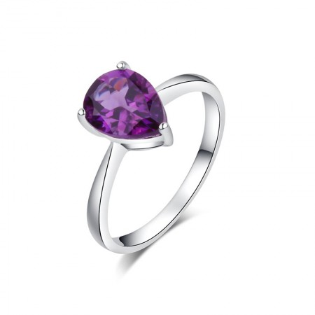 Simple 925 Sterling Silver Inlaid Drop Shape Crystal Engagement Ring