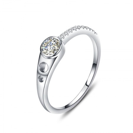 Exclusive Design 925 Sterling Silver Inlaid Simulation Cz Engagement Ring