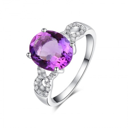 Luxurious Atmosphere 925 Sterling Silver Inlaid Oval Gemstone Engagement Ring
