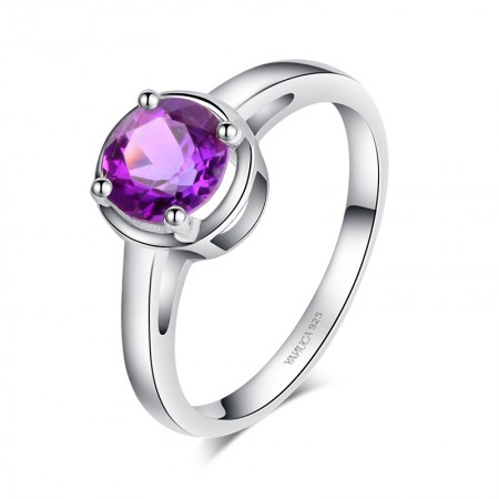 Low Key 925 Sterling Silver Inlaid Natural Gemstone Engagement Ring