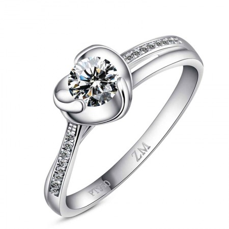 Unique Heart-Shaped Design 925 Sterling Silver Plated Platinum Wedding Ring