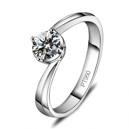 Classic Round Cut 925 Silver Lettering Engagement Ring