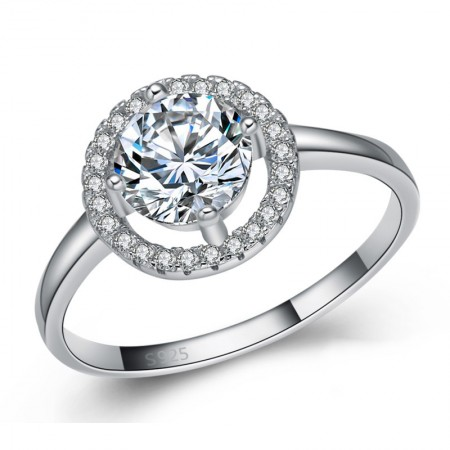 High-Grade 925 Sterling Silver Inlaid Cz Engagement Ring