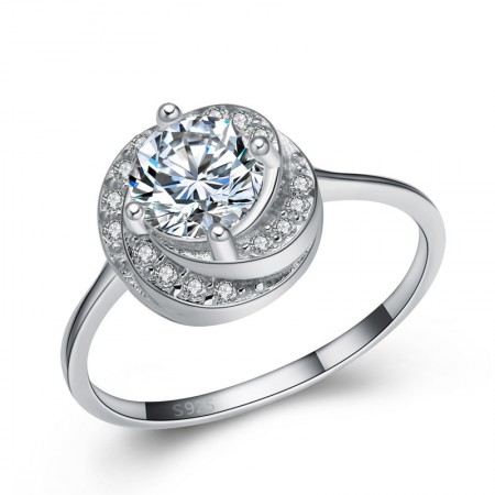 Classic Luxury 925 Sterling Silver Inlaid Cz Engagement/Wedding Ring