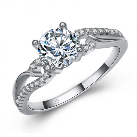 High-Grade 925 Sterling Silver Inlaid Round Cut Cz Engagement Ring