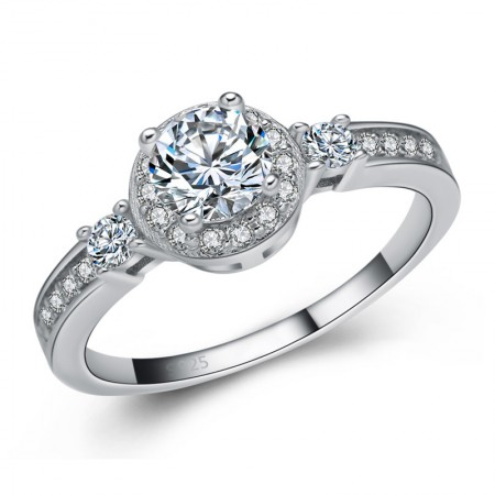 Exquisite Craft 925 Sterling Silver Inlaid Cz Engagement/Wedding Ring