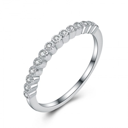 New Korean Fashion 925 Sterling Silver Row Cz Fine Engagement Ring