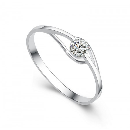Simple Chic 925 Sterling Silver Plated White Gold Engagement Ring