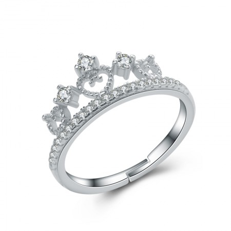 Simple Fashion Crown Moldings 925 Sterling Silver Engagement/Wedding Ring