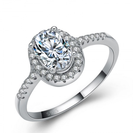 Upscale Luxurious 925 Sterling Silver Inlaid Oval Cz Engagement Ring