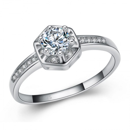 Featured High-Grade 925 Sterling Silver Inlaid Cubic Zirconia Engagement Ring