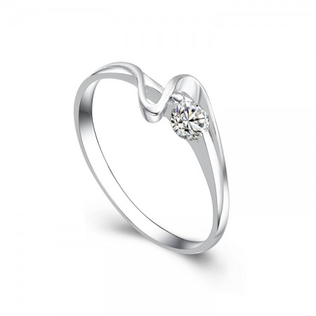 Romantic And Charming S925 Sterling Silver Plated White Gold Engagement/Wedding Ring